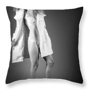 Open Coat In Bw Throw Pillow