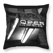 Open For Business Bw Throw Pillow