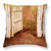 Open Gate To Cottage Throw Pillow
