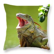 Open Mouth Iguana Throw Pillow
