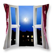 Open Window At Night Throw Pillow