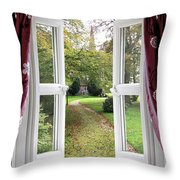 Open Window To A Church Garden Throw Pillow