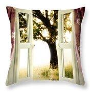 Open Window To Tree Throw Pillow