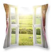 Open Window With Countryside View Throw Pillow