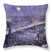 Opening Of The Great New York And Brooklyn Bridge And Grand Display Of Fire Works Throw Pillow