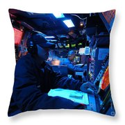Operations Specialist Stands Watch Throw Pillow by Stocktrek Images