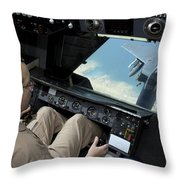 Operator Refuels An F-16 Fighting Throw Pillow by Stocktrek Images