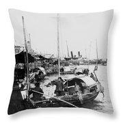 Opium Trader - Hong Kong Harbor - C 1901 Throw Pillow