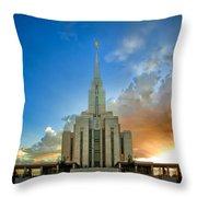 Oquirrh Mtn Temple Setting Sun Throw Pillow
