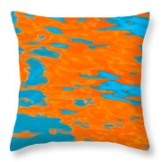 Orange And Blue Reflection In Water. Throw Pillow