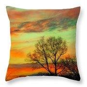 Orange And Blue Sky Throw Pillow