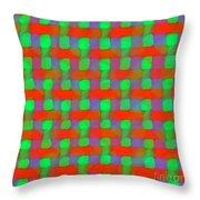 Orange And Green Basketweave Throw Pillow