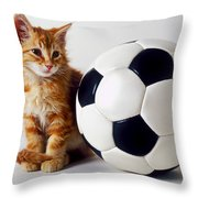 Orange And White Kitten With Soccor Ball Throw Pillow by Garry Gay