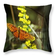Orange Butterfly On Yellow Wildflower Throw Pillow