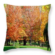 Orange Colored Trees Throw Pillow