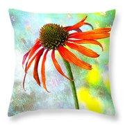 Orange Coneflower On Green And Yellow Throw Pillow