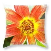 Orange Dahlia On Green Throw Pillow