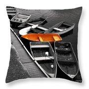 Orange Dinghy Throw Pillow