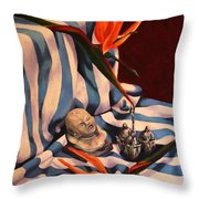 Orange Flowers And Blue Cloth Throw Pillow
