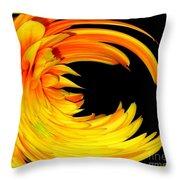 Orange Gerbera Daisy Warp Throw Pillow