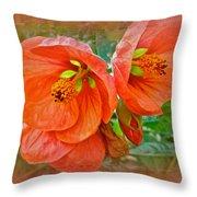 Orange Hibiscus Flowers Throw Pillow