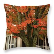 Orange Leaves And Pumpkins Throw Pillow