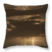 Orange Lightning Throw Pillow