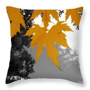 Orange Maple Leaves Throw Pillow