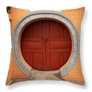 Orange Moon Door Throw Pillow
