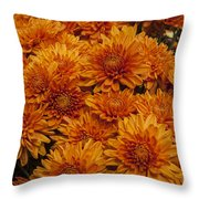 Orange Mums Throw Pillow