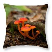 Orange Mushrooms Throw Pillow