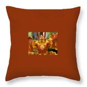 Orange Orchid Clown Throw Pillow