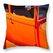 Orange Passenger Door Throw Pillow