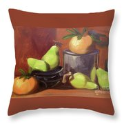 Orange Pears Throw Pillow by Lilibeth Andre