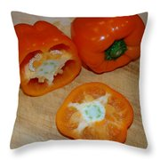 Orange Peppers Throw Pillow