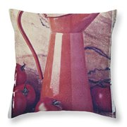 Orange Pitcher And Tomatoes Throw Pillow