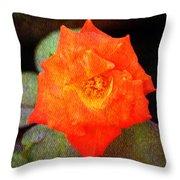 Orange Rose Blossom Throw Pillow