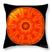 Orange Rose Kaleidoscope Under Glass Throw Pillow
