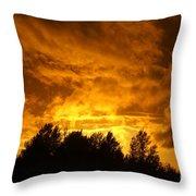 Orange Stormy Skies Throw Pillow