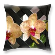 Orange Striped Orchids Throw Pillow