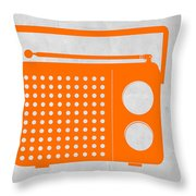 Orange Transistor Radio Throw Pillow