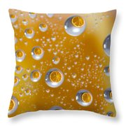 Orange Water Drops Throw Pillow
