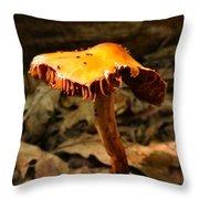 Orange Wild Mushroom Throw Pillow
