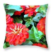 Orange Zinnias Throw Pillow