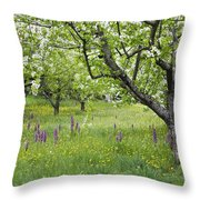 Orchard With Flowering Orchids Throw Pillow