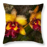 Orchid - Cattleya - Dripping With Passion  Throw Pillow