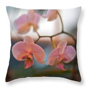 Orchid Gathering Throw Pillow