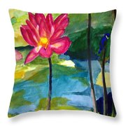 Orchid With Blue Bird Throw Pillow