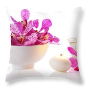 Orchid With Candle Throw Pillow by Atiketta Sangasaeng