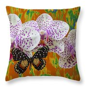 Orchids With Speckled Butterfly Throw Pillow